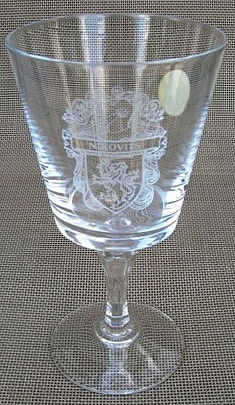 French Crystal Wine Goblet With The Nikovits Family Crest