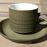 Denby Langley Camelot Dark Green Chevron Cup & Saucer Set