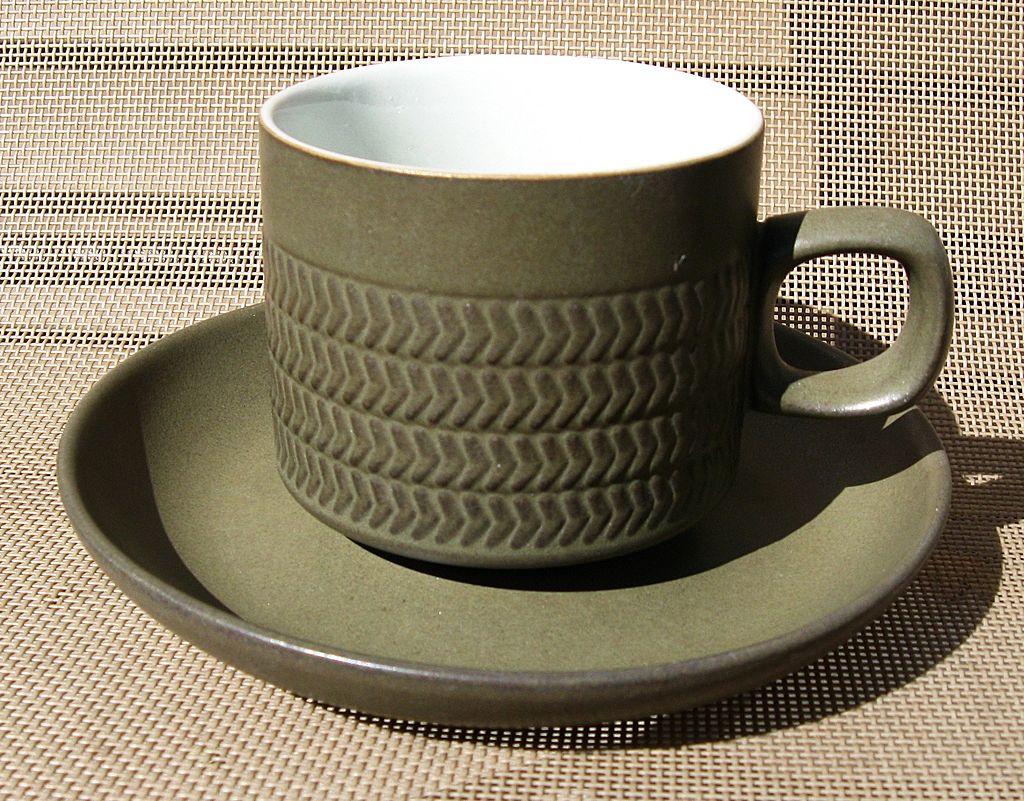 Denby Langley Camelot Dark Green Chevron Cup & Saucer Set