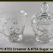 Hocking Early American Prescut Creamer & Sugar Set