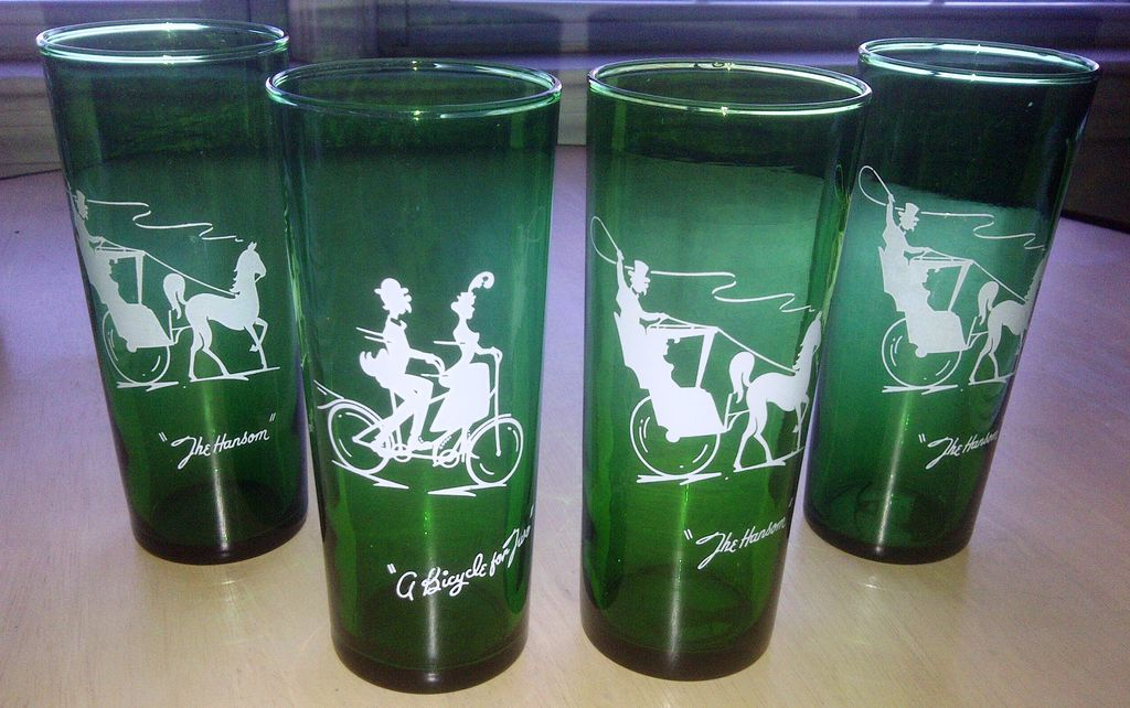 Anchor Hocking Crystal Gay Nineties Forest Green Straight Shell Tumbler Set