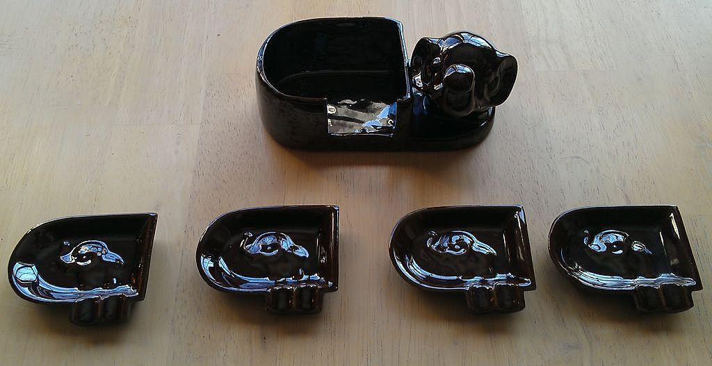 Occupied Japan Redware Elephant Ashtray Set