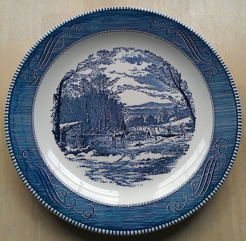 "Royal China Currier & Ives12 Chop Plate ""Getting Ice"" Blue Pattern"