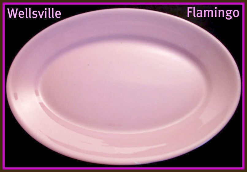 Wellsville China Flamingo Pink Oval Platter