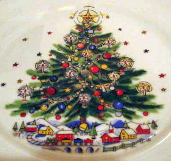 Salem China Christmas Eve Tidbit  Serving Tray