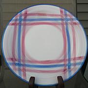 Vernon Kilns Vernonware Calico Pink Blue Plaid Round Chop Plate