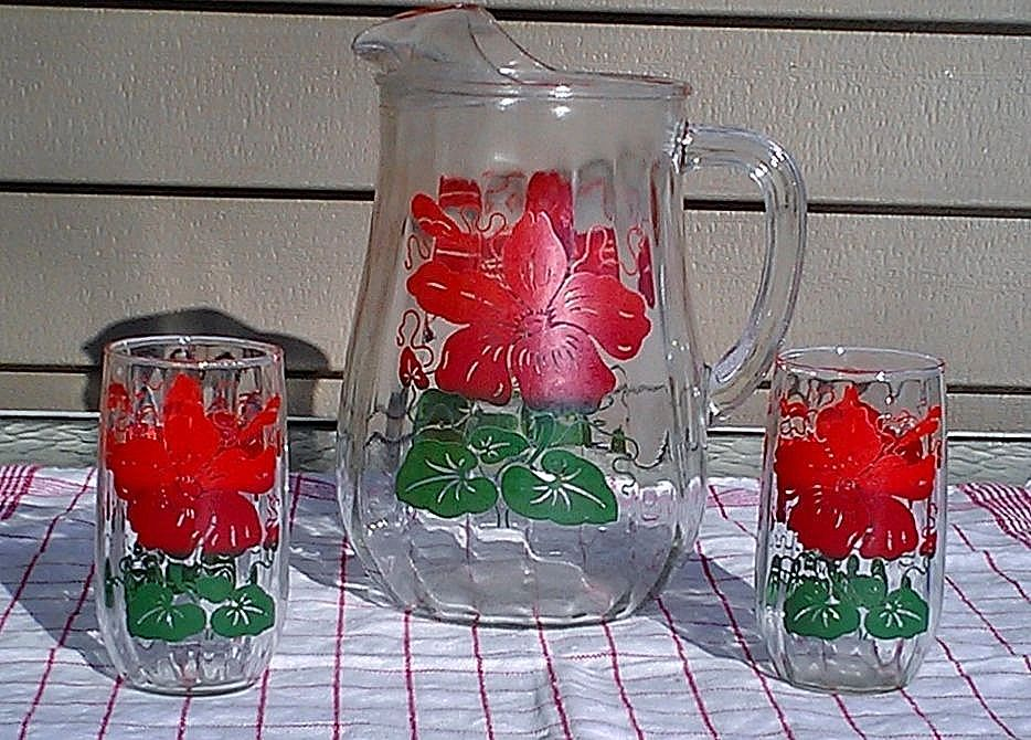 Vintage 1950's Anchor Hocking Red & Green Floral Pitcher and Tumbler Set