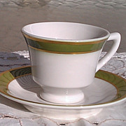 Syracuse China Green Band with Gold Trim Demitasse Cup & Saucer