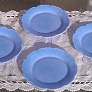 Jeannette Glass Cherry Blossom Delphite Children's 4 Plate Set