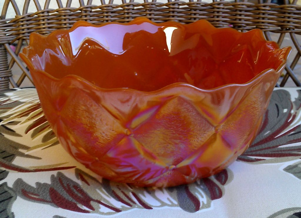 Iridescent Orange Diamond Quilt Glass Bowl