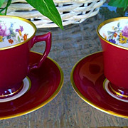 Syracuse Old Ivory  Demitasse Cup & Saucer Set (2), Floral Center, Red & Blue Border, Gold Trim