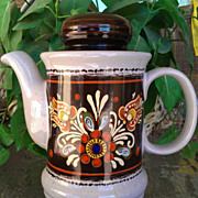 Vintage RedwareTeapot Pennsylvania Dutch Pattern