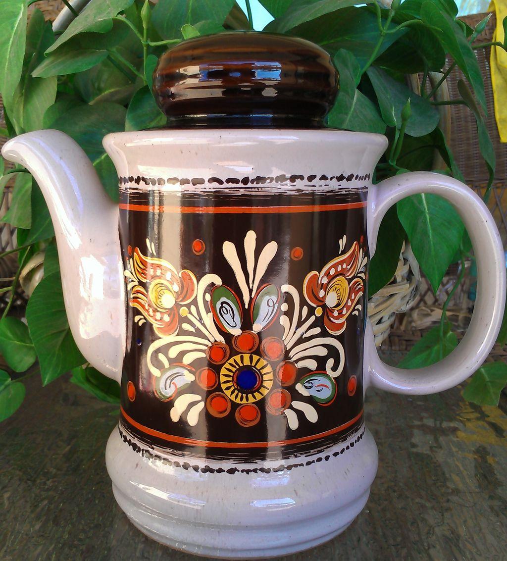 Vintage RedwareTeapot Pennsylvania Dutch Pattern