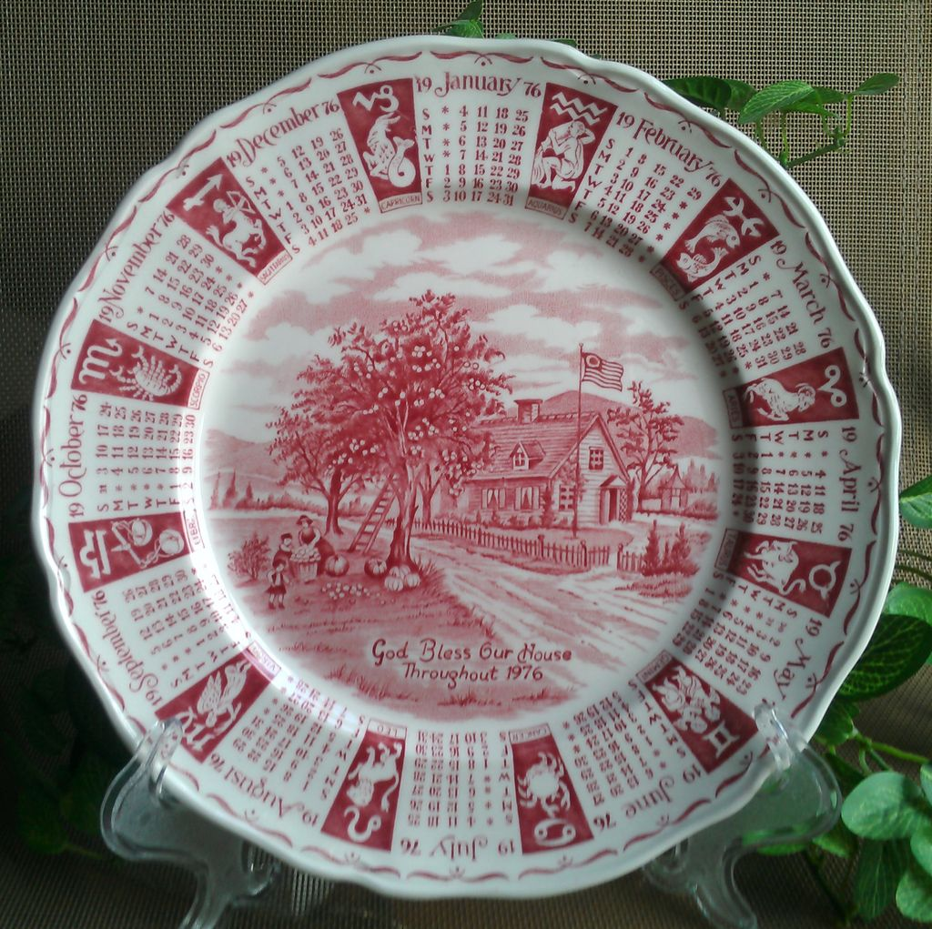 Alfred Meakin Staffordshire Calendar Plate 1976