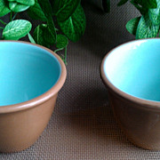 Taylor Smith Taylor Cinnamon Sky Blue Custard Cup Set of 2 Chateau Buffet