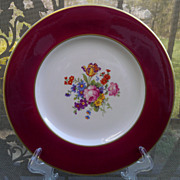 Syracuse Old Ivory Dinner Plate Floral Center, Red Border, Gold Trim