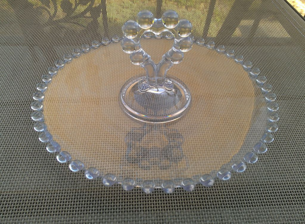 Imperial Glass Candlewick Tidbit Tray With Heart Shaped