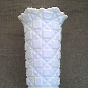 "Westmoreland Old Quilt 9"" Milk Glass Vase"