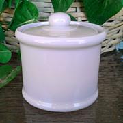 Sterling Vitrified China White Covered Mustard Pot 1951