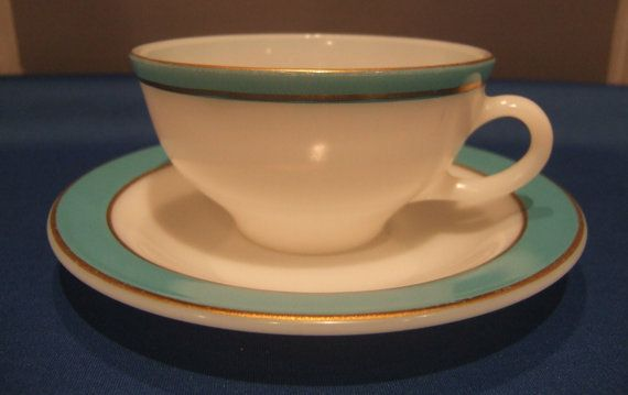 Pyrex Turquoise Blue Band Gold Cup & Saucer