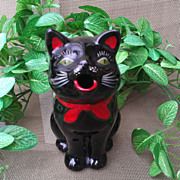 Shafford Redware Black Cat Creamer / Pitcher MIJ