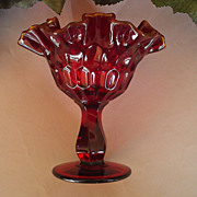 Fenton Ruby Red Glass Thumbprint Pedestal Compote Gold Crest