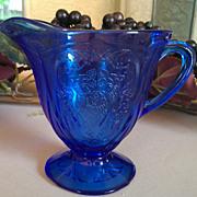 Hazel Atlas Royal Lace Cobalt Blue Footed Creamer