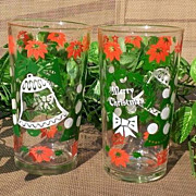 Hazel Atlas Merry Christmas Happy New Year Tumbler Set of 3