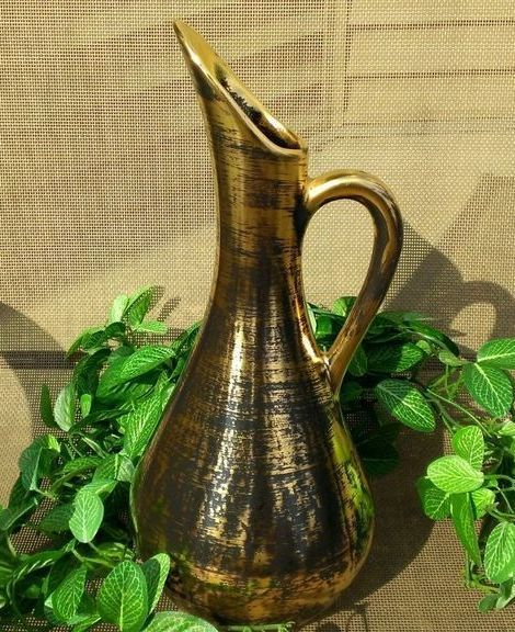 Stangl Mid Century Modern Black Gold Ewer Pitcher 4055