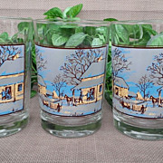 Currier & Ives Early American Winter Christmas Glass Set