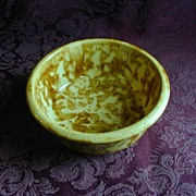 Yellow Brown Spongeware Bowl
