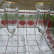 Oneida Crystal Chateau Gold Fluted Champagne Set