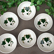 Metlox Pottery California Ivy Fruit/Dessert Six Bowl Set