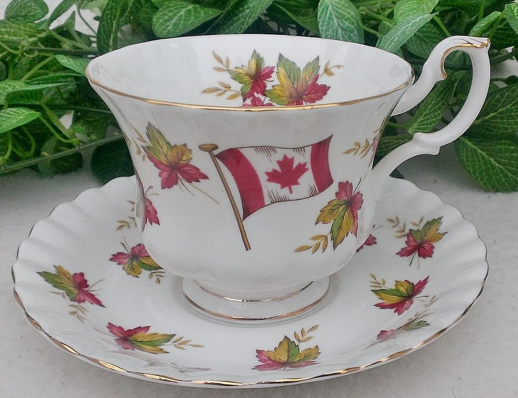 "Royal Albert Footed Cup & Saucer ""Canada - From Sea to Sea"""