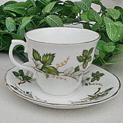 Arklow Fine Bone China Footed Tea C & S Set Grape Leaf Pattern ARK22