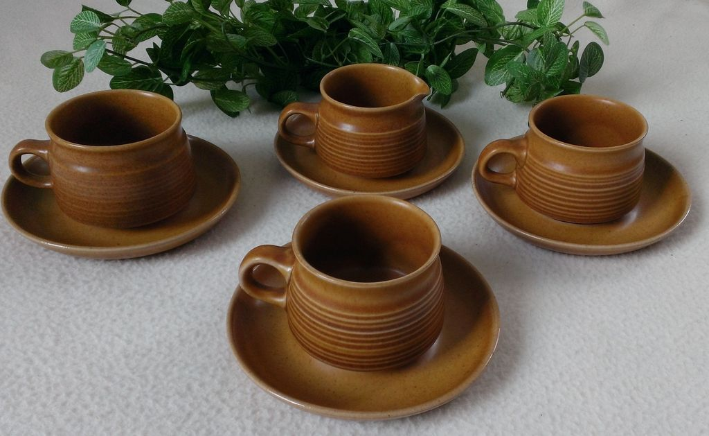 Denby / Langley Canterbury Pattern Creamer with Cup & Saucers Set