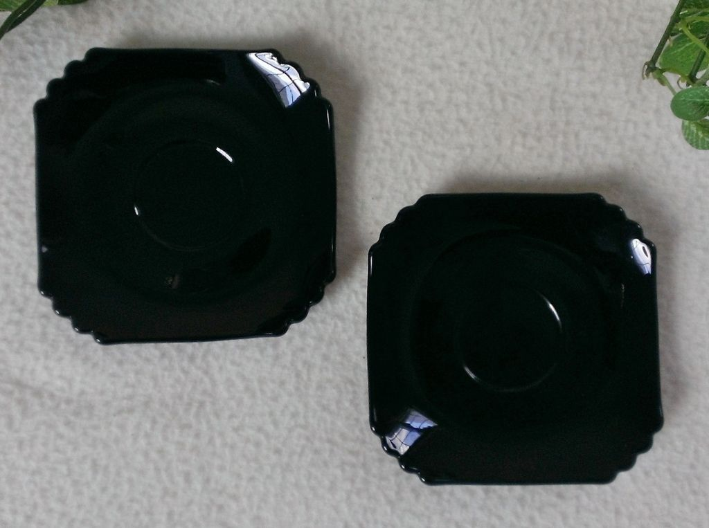 Fostoria Mayfair Ebony Saucer Set