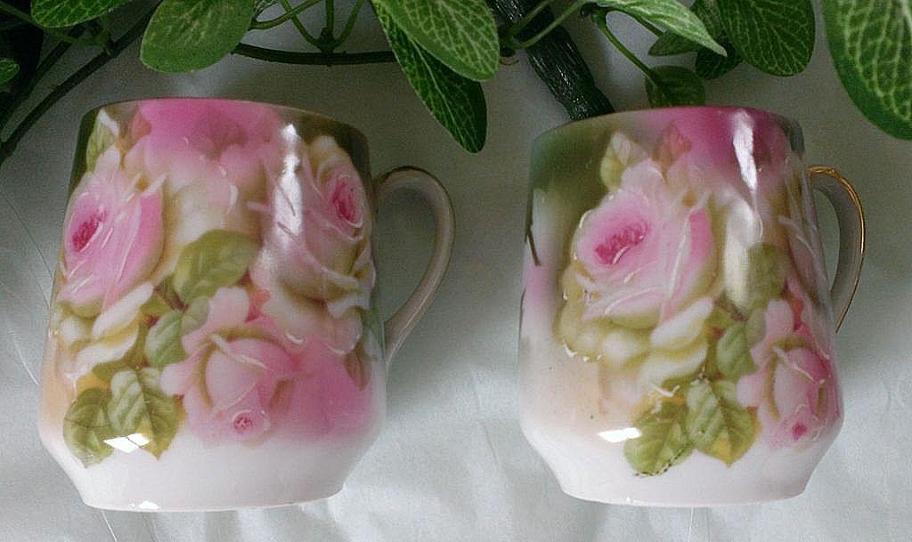 German Pink Rose Demitasse / Chocolate Cup Set