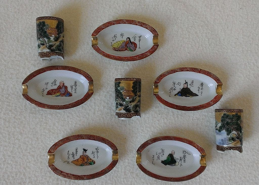 Vintage Japanese Smoking Set with Match Holders