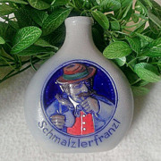 Gebrüder Bernard Snuff Bottle Schmalzlerfranzl Multi-Colored Salt Glazed Pottery