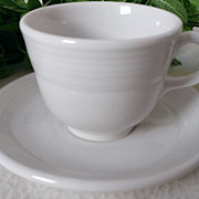 Homer Laughlin Fiesta Ware White Flat Cup & Saucer Set