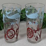 Vintage Colonial Americana Highball Glass Set