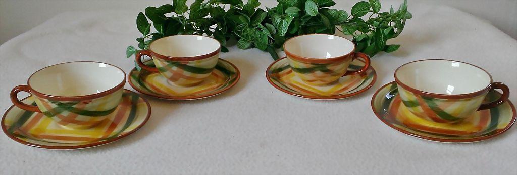 Metlox Vernon Kilns  Vernonware Homespun Cup & Saucer Set of 4