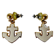 Napier Cream Enamel Nautical Anchor Earrings