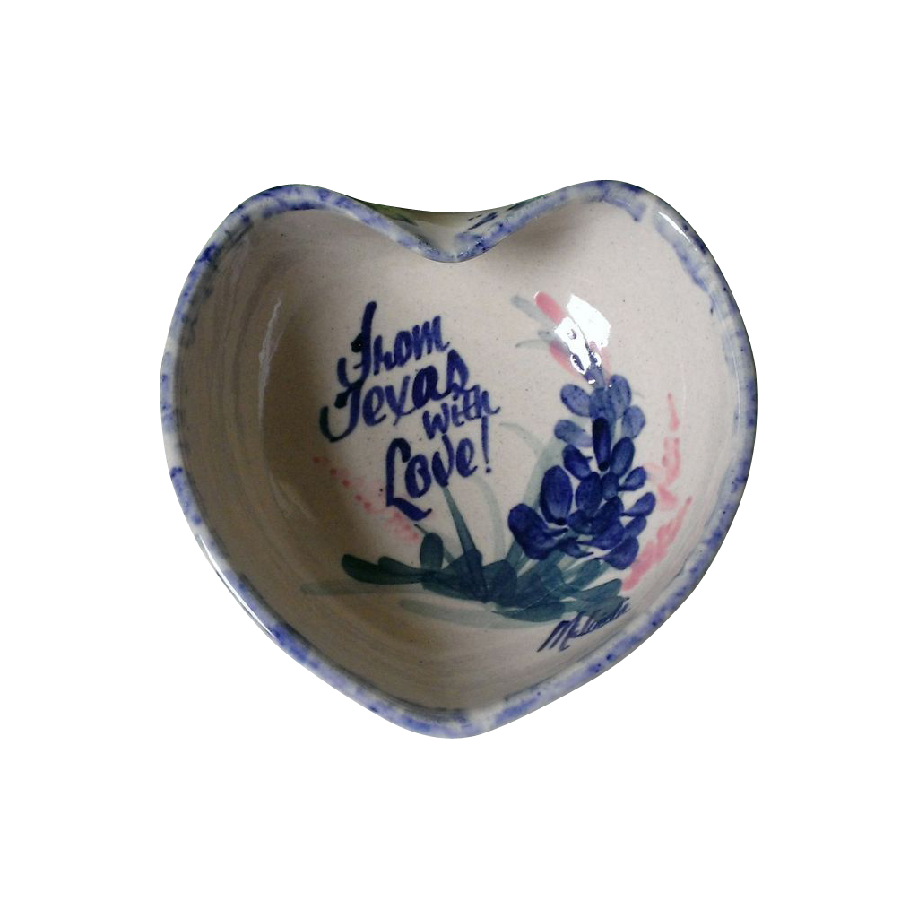 Yesteryears pottery with love from texas heart shaped for Heart shaped jewelry dish