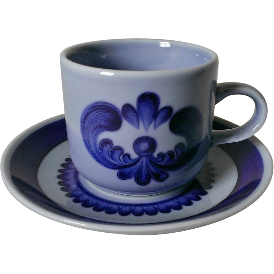 Kahla China GDR Blue Majolica Demitasse Set
