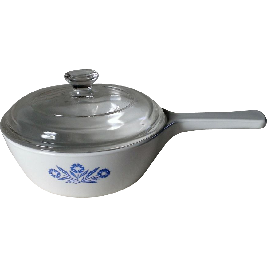 Corning Cornflower  Blue 1Pt. Menu-ette P-81-B Pan with Lid