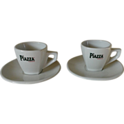 Piazza Cafe Demitasse Cup & Saucer Set of Two