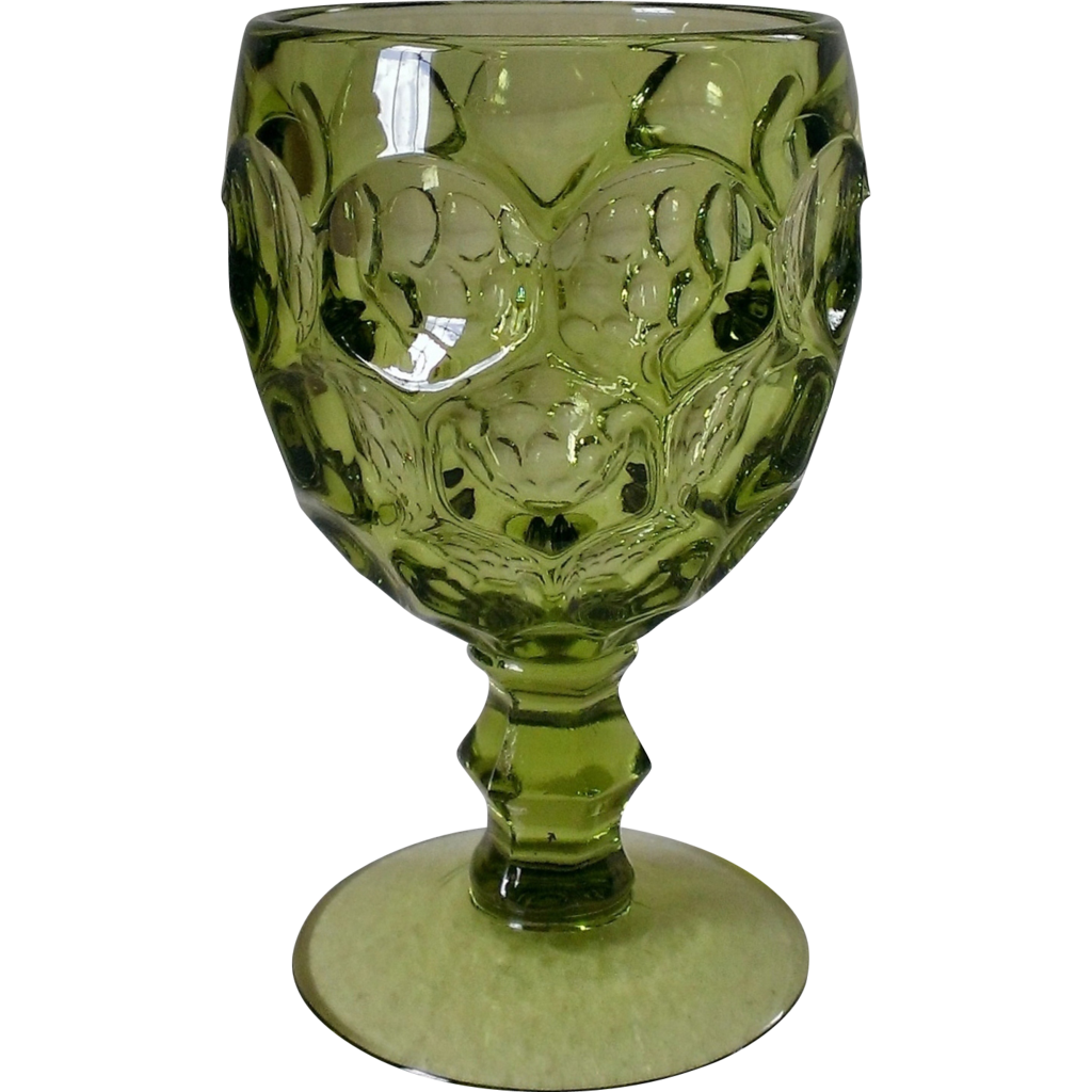 Imperial Provincial Green Thumbprint Wine Glass Set