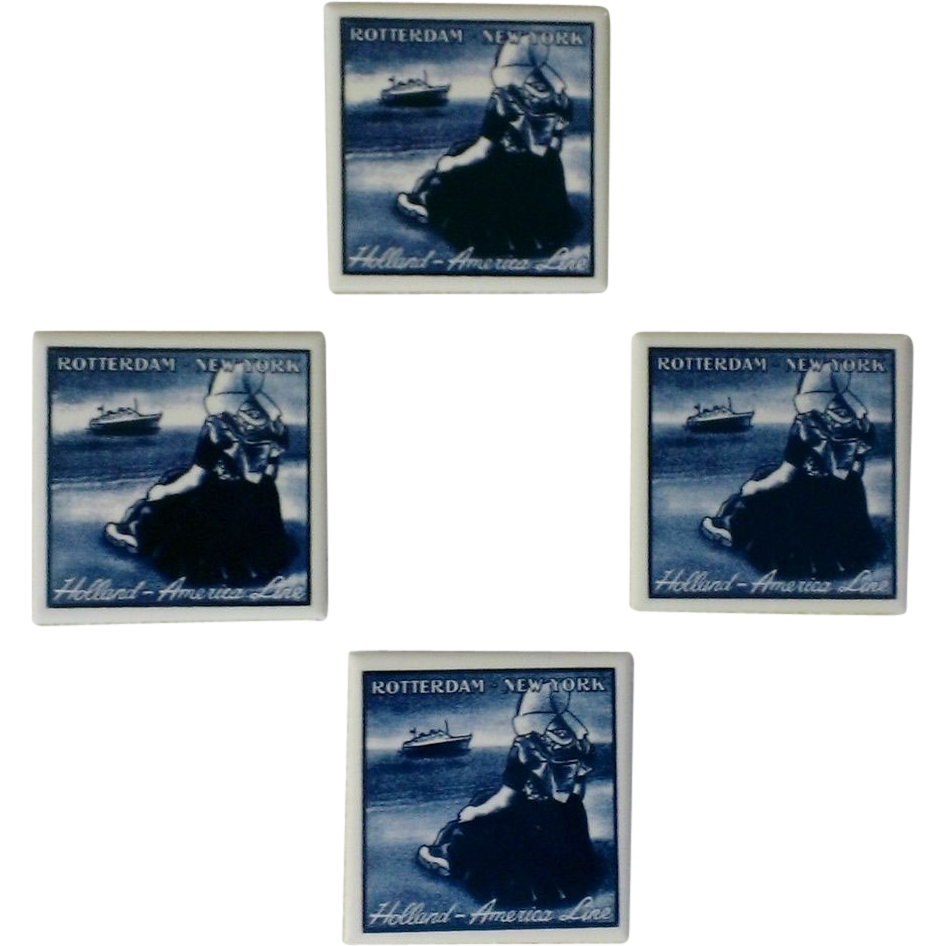 Holland America Lines Blue Delftware Coaster /  Tile Set